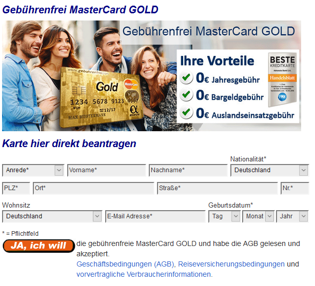 Dkb Visa Kreditkarte Mit Kostenlosem Girokonto Im Test: Advanzia Mastercard Gold 1